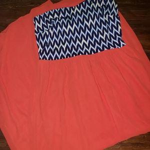 Bright coral and Navy Maxi dress